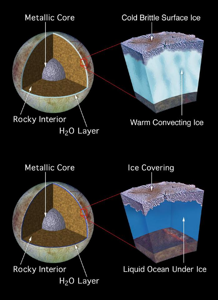 Two possible versions of Europa's ocean (Image: NASA)
