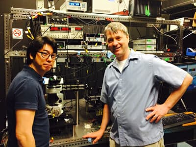 Young Duck Kim and Professor James Hone, two of the team of researchers laying claim to creating the world's thinnest light-bulb