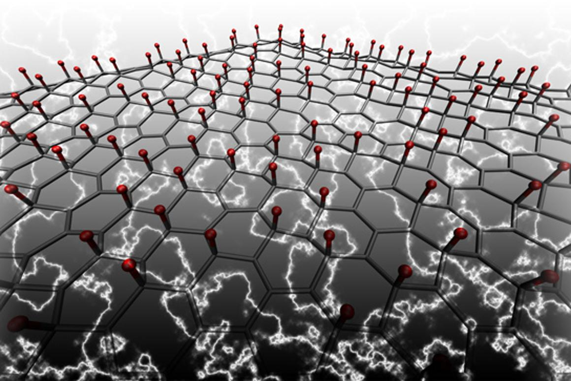 Lithium atoms (red) deposited on graphene were shown to give the material piezoelectric qualities