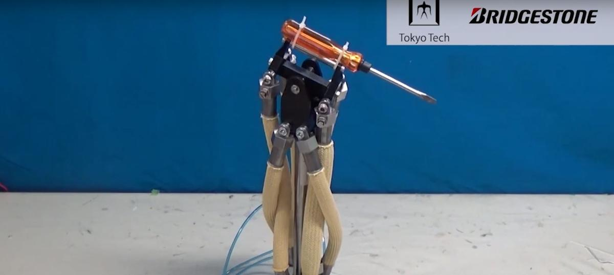 The hydraulic muscle used to create a wrist to manipulate a screwdriver