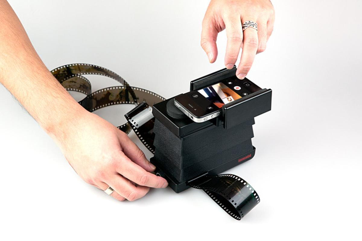 The Lomography Smartphone Film Scanner, in use