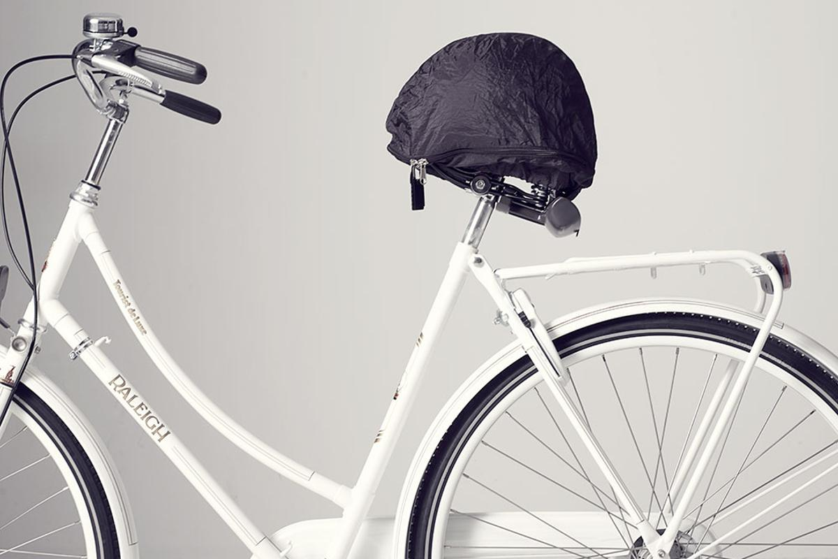 The HelmMate – it's like a helmet-storing umbrella for your saddle
