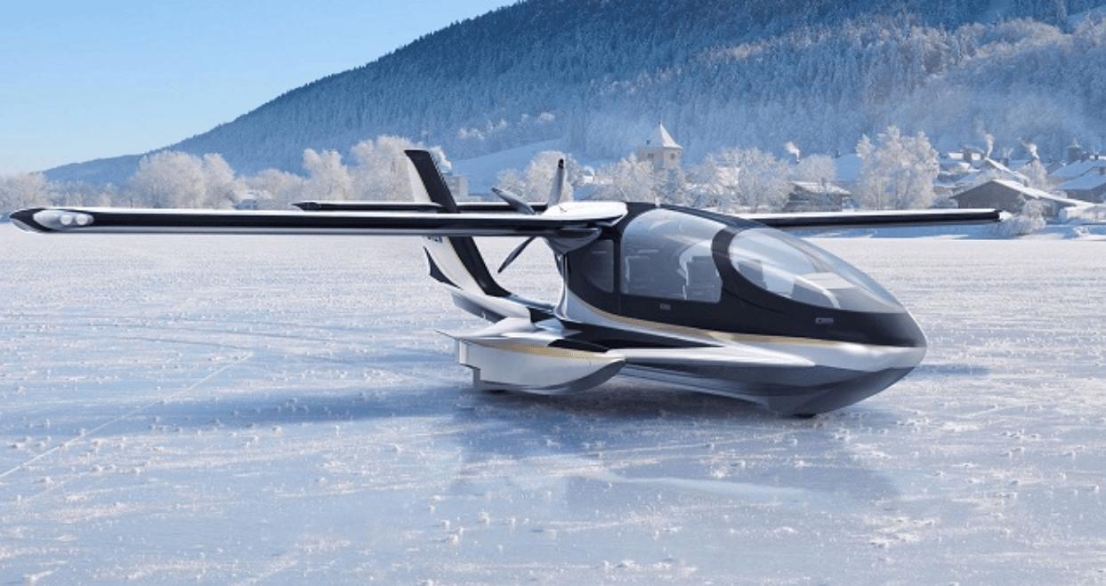 """Una representación del avión anfibio Horizon X3, el """"SeaBee modernizado"""" que formó la base para el diseño VTOL híbrido del Cavorite X5"""