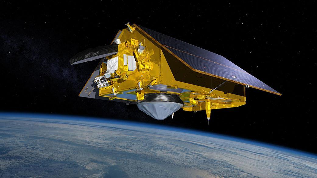 A rendering of the Sentinel-6 Michael Freilich satellite in orbit