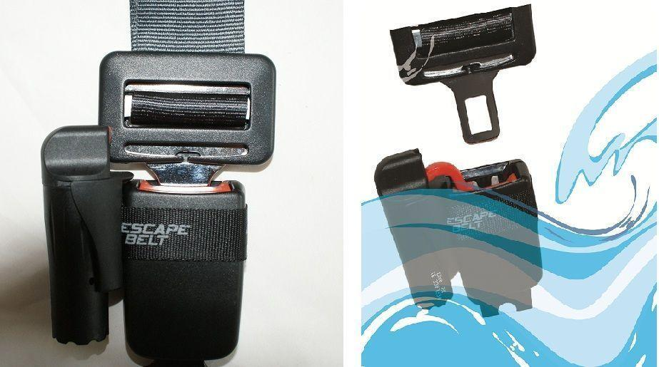 The Escape Belt causes your seat belt to release when exposed to water