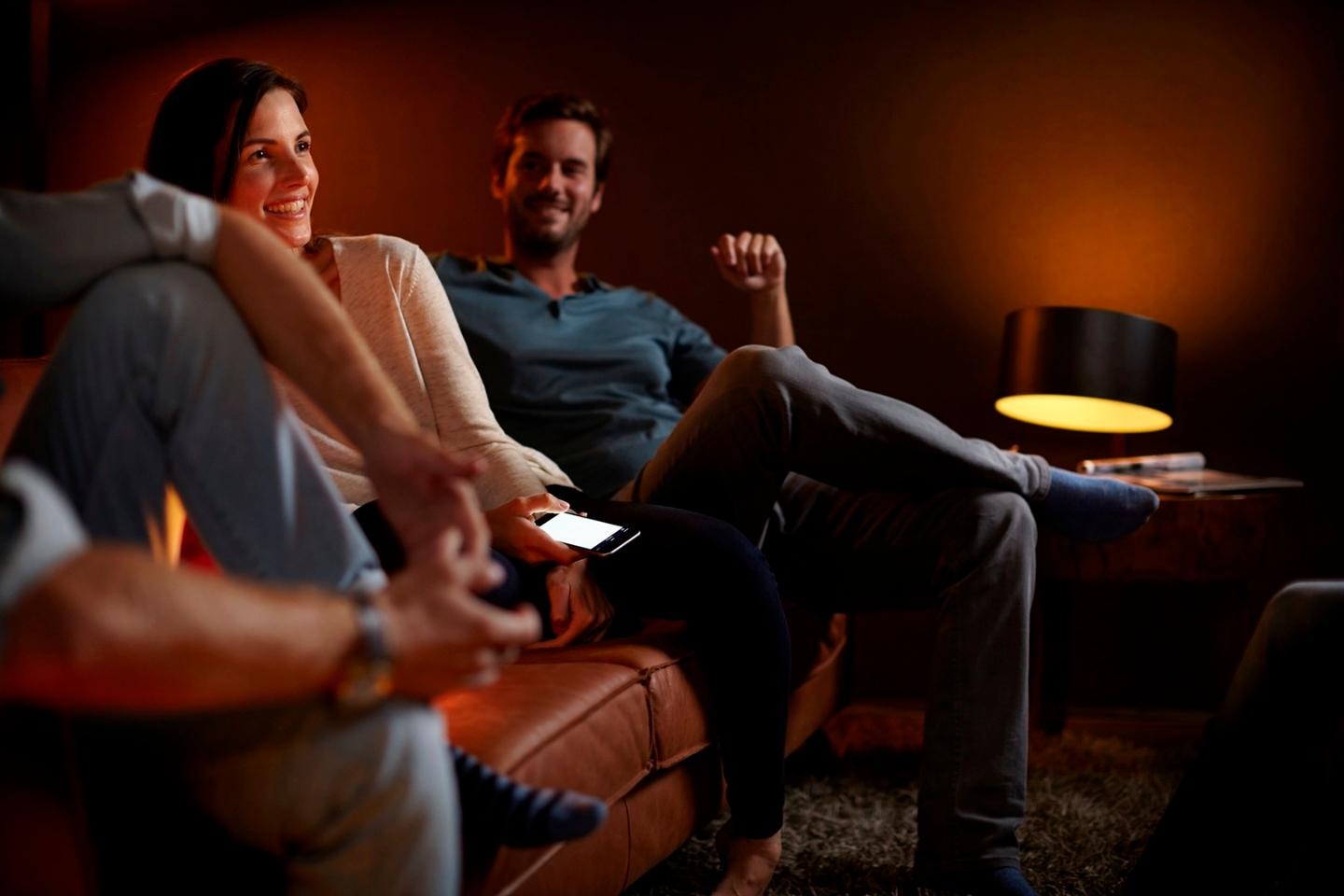 The Philips Hue Bridge 2.0 allows users to load pre-saved lighting profiles for multiple lights and to group compatible devices together