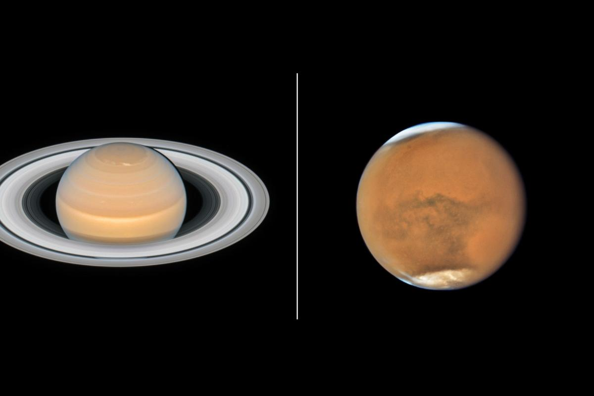 New images of Saturn and Mars captured by the Hubble Space Telescope