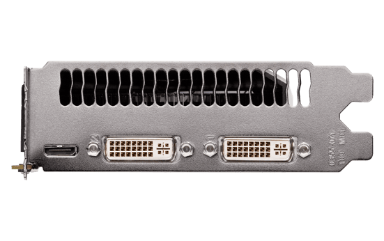 Dual slot DVI ports and a mini-HDMI port