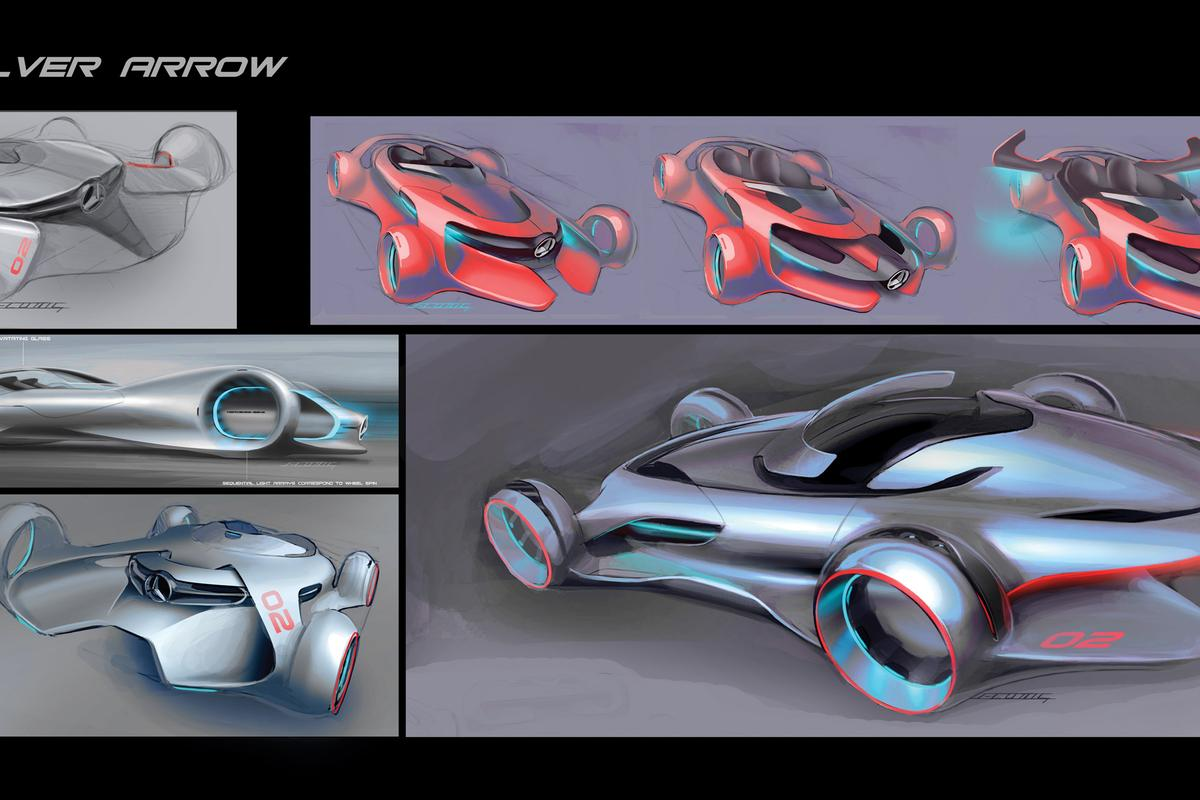 Silver Arrow concept sketches (Image: Mercedes-Benz Research & Development North America)