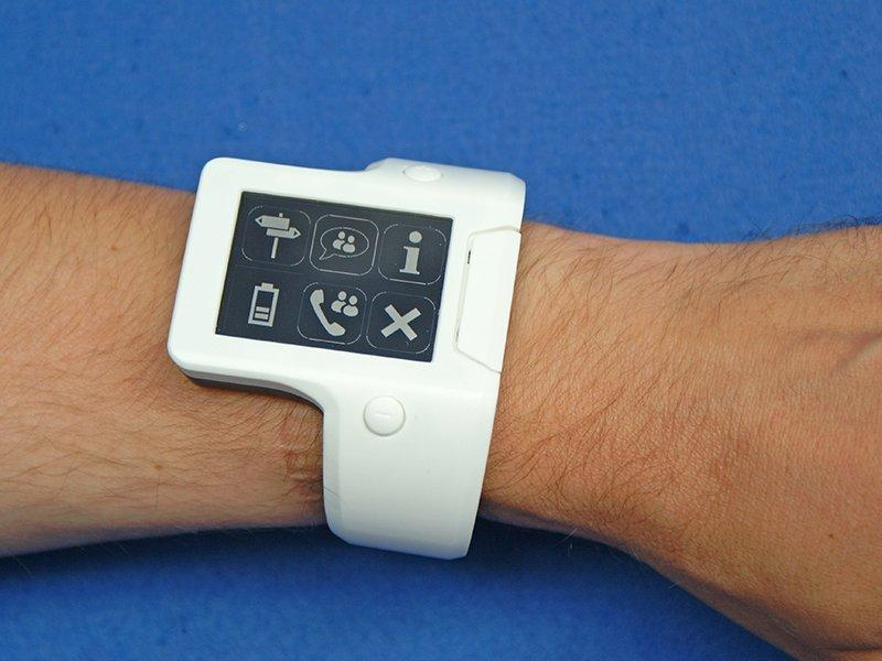 This smart watch-like device is designed to assist the elderly with basic tasks like remembering to take medication