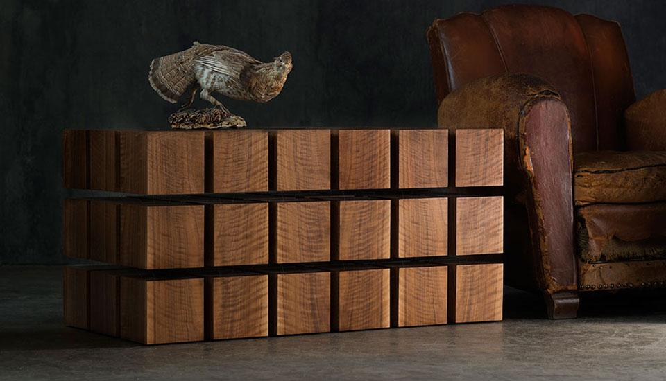 The Float Table is made of wooden cubes with magnets inside
