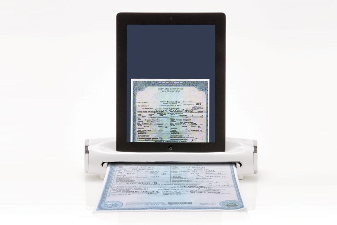 The iConvert Scanner for iPad saves digital copies of scanned documents to a docked iPad's photo library