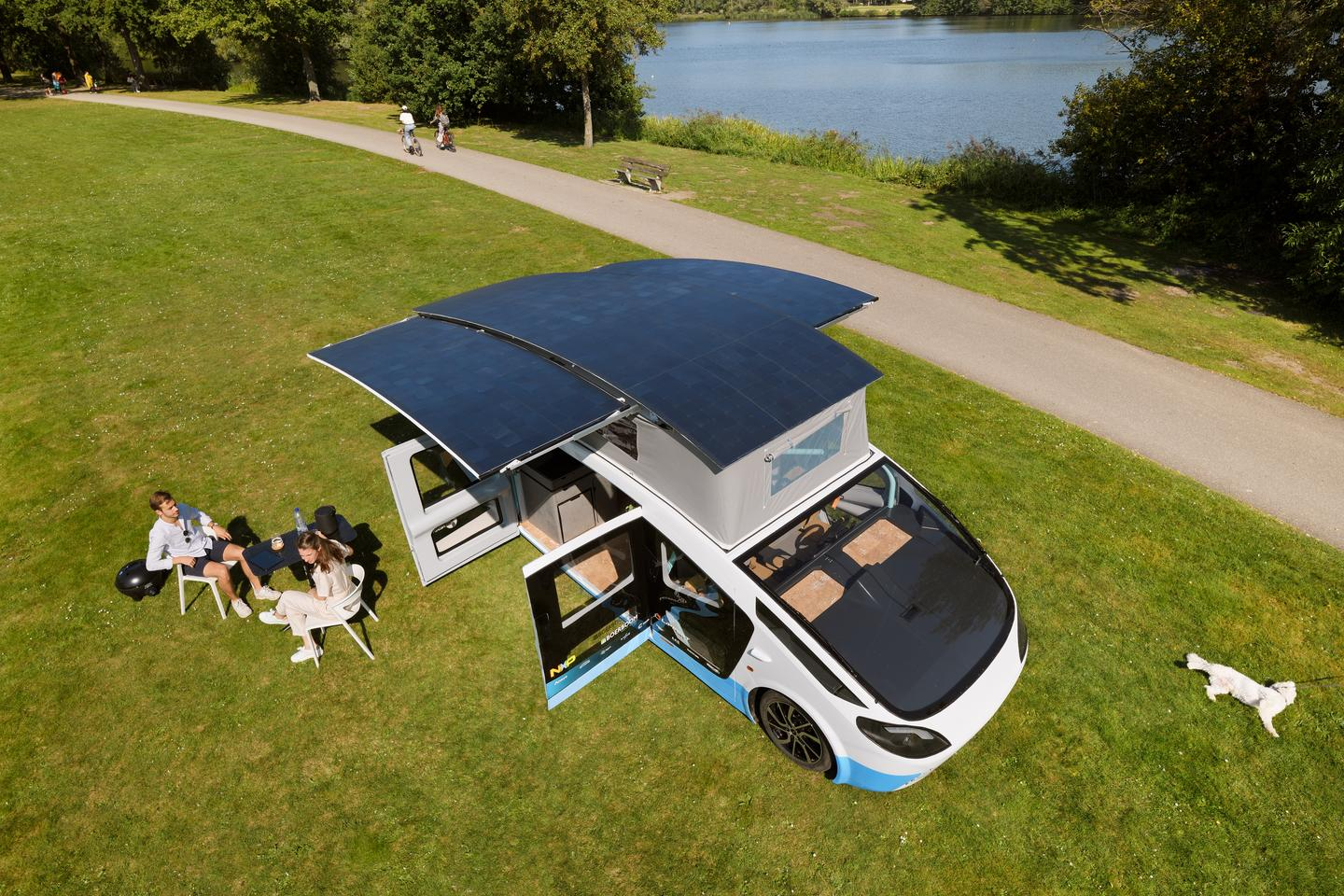 The solar array can double in size at camp thanks to additional fold-out panels