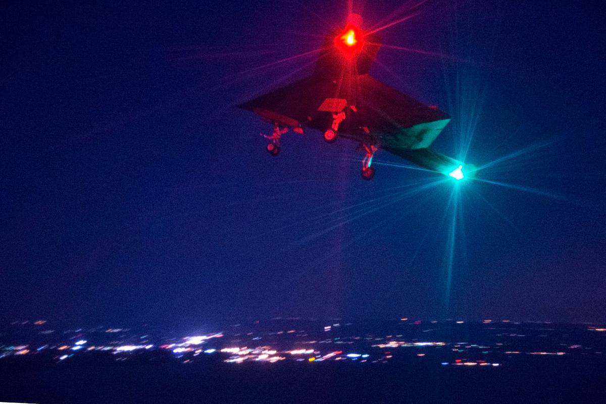 The X-47B on its first night flight carried out at Naval Air Station Patuxent River on April 10