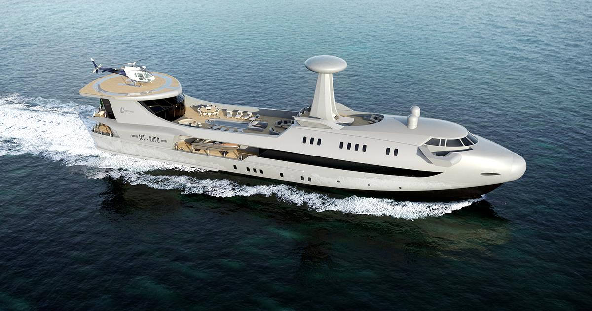 Codecasa Jet 2020 yacht sets sail as a wingless jetliner of the sea