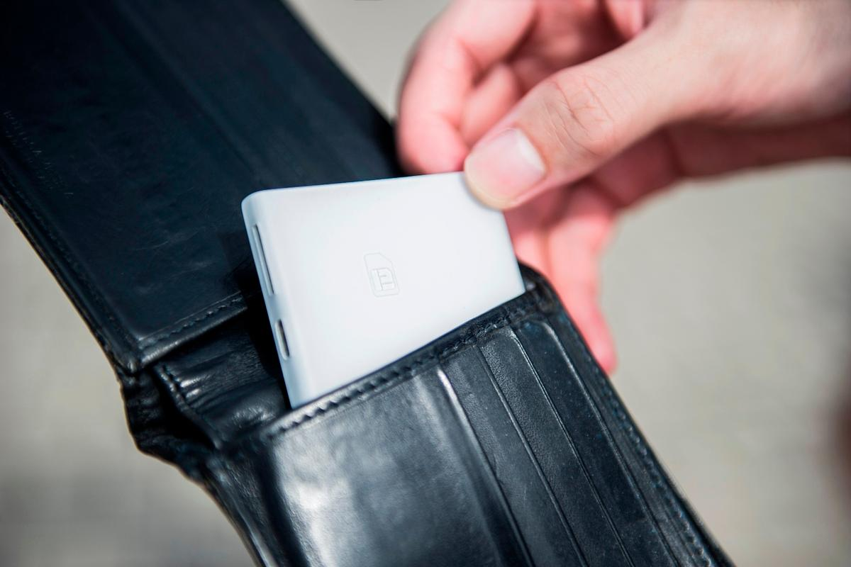 Piece is about the size of a credit card, and designed to fit inside a user's wallet or purse