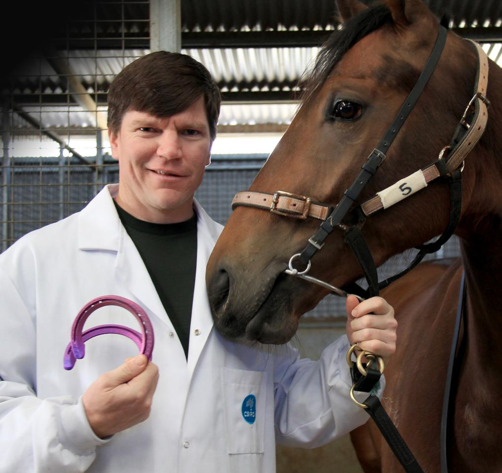 CSIRO researcher, Chad Henry, presents the new race shoes to the horse