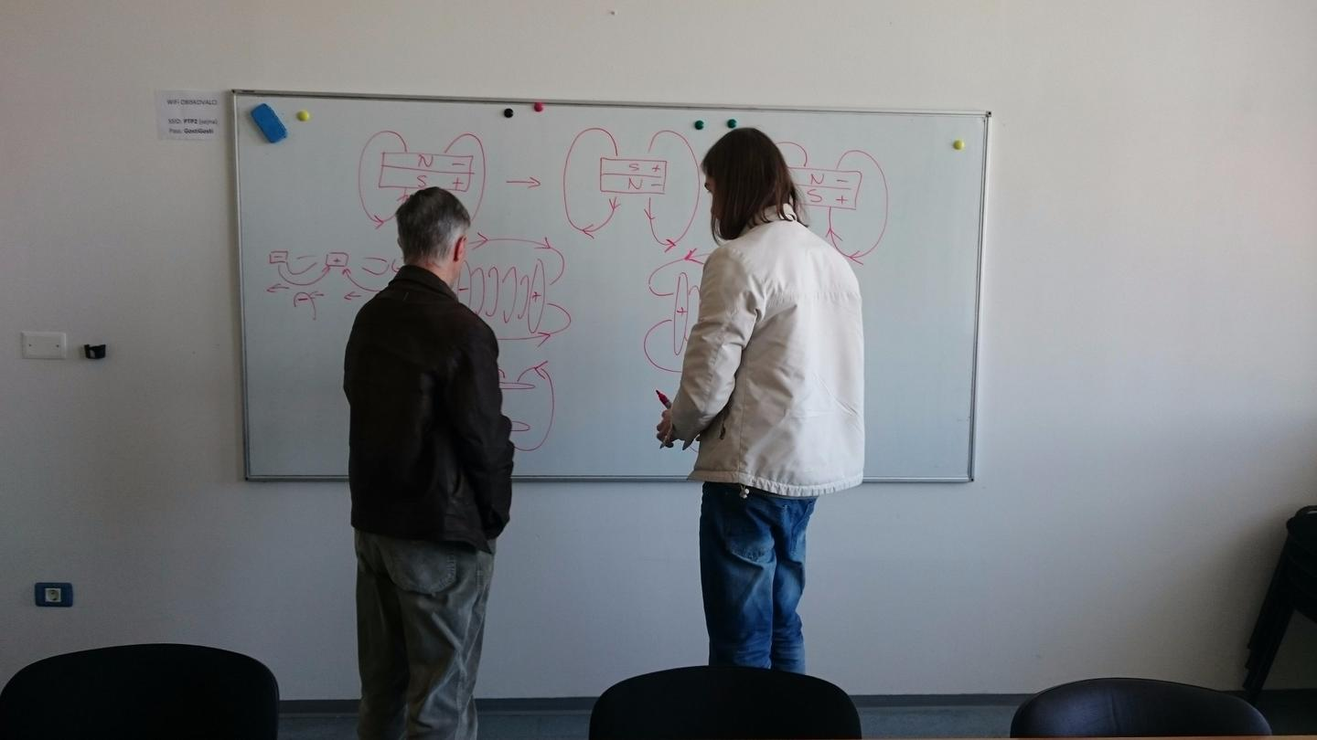 The Mag-Lev Audio system designers working on thepatent-pending magnetic levitation drive system