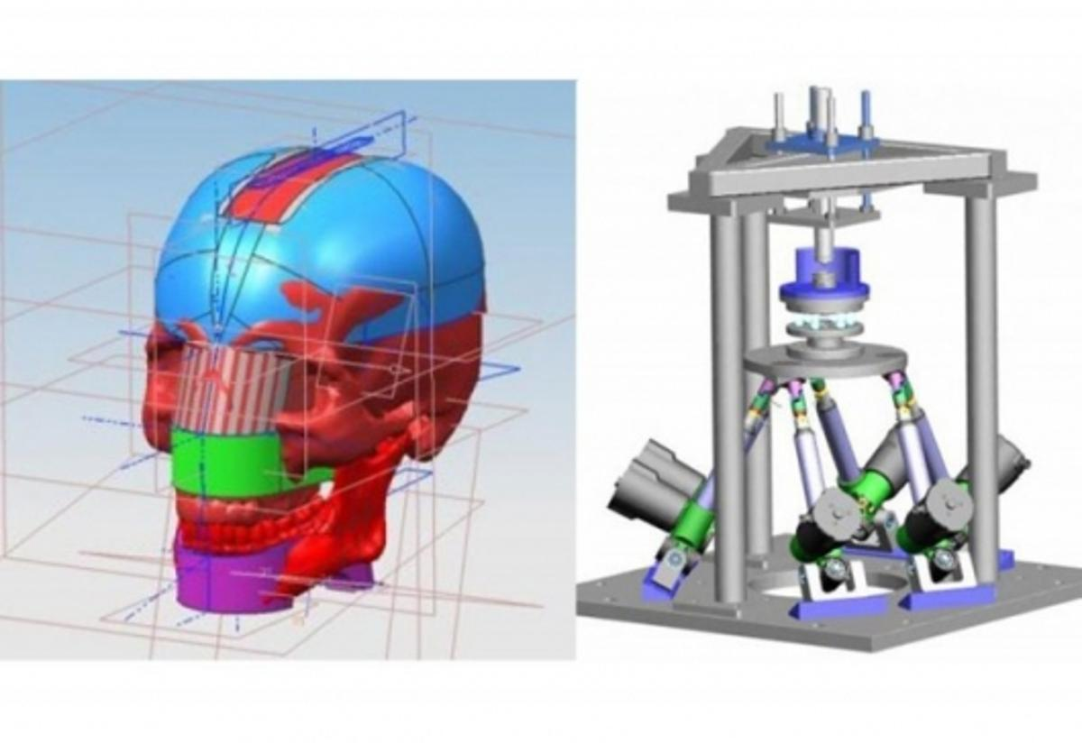 The Chewing Robot concept and CAD model of the complex mechanism (Image: Dr. Daniel Raabe)