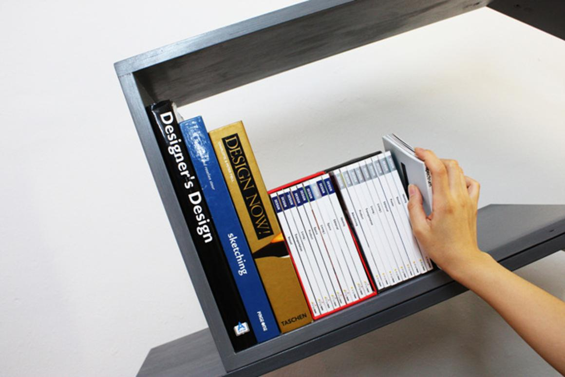 The Lean/Bookshelf by monocomplex provides secure, ordered storage and display without bookends