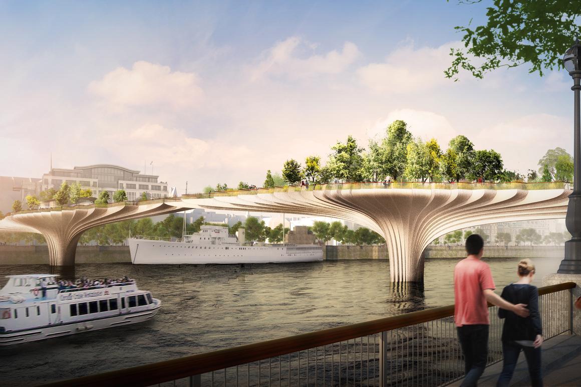 Thomas Heatherwick's vision of a garden bridge across the Thames (Image: Heatherwick Studio)