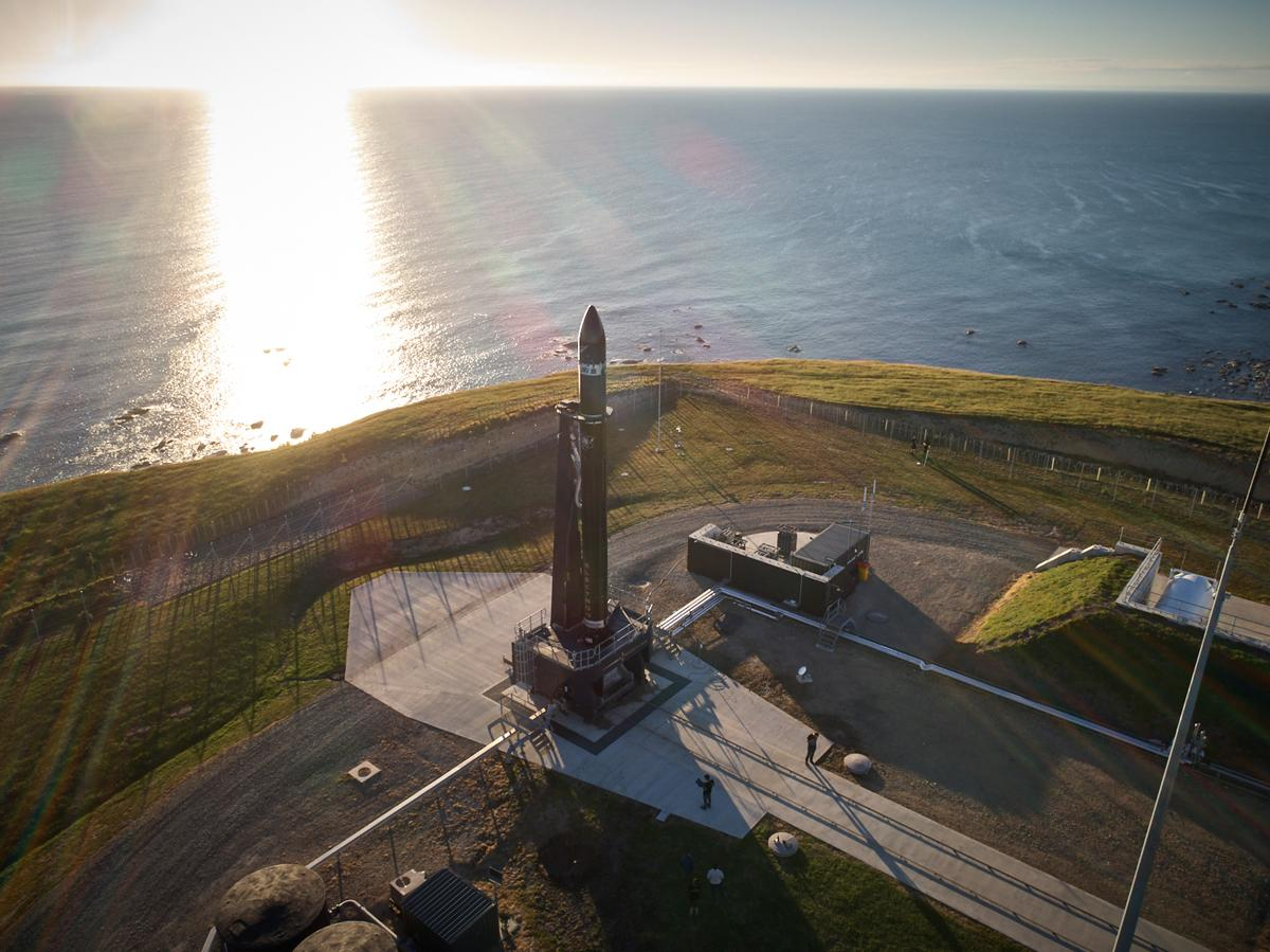Rocket Lab's Electron booster stands on the launchpad during testing