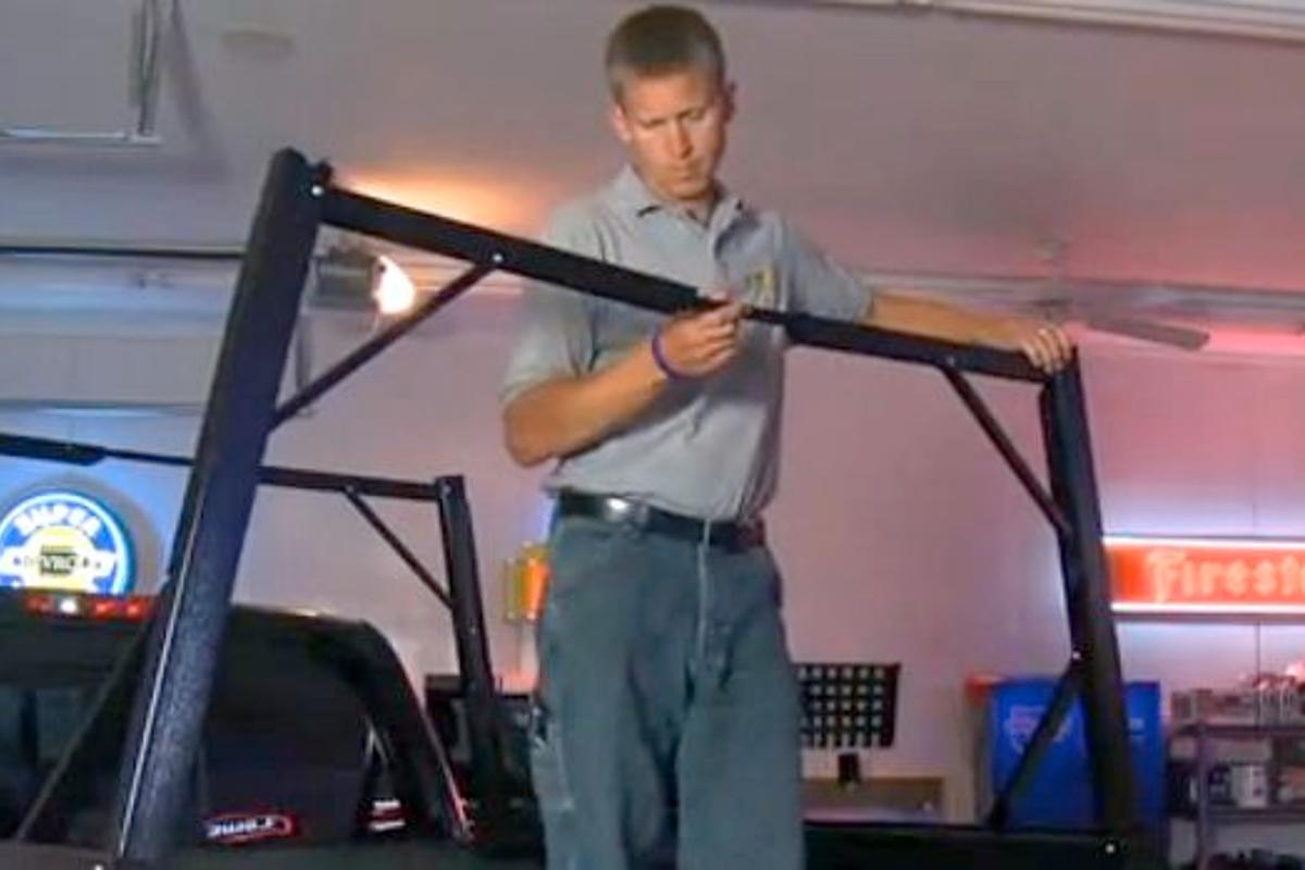 The Invis-A-Rack is a ladder rack for pick-up trucks that folds away when not in use
