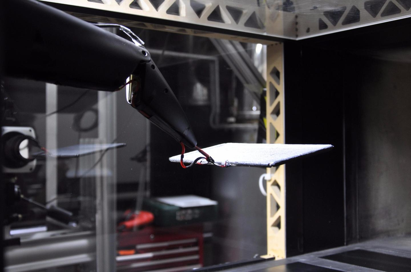 The membrane being tested in a wind tunnel