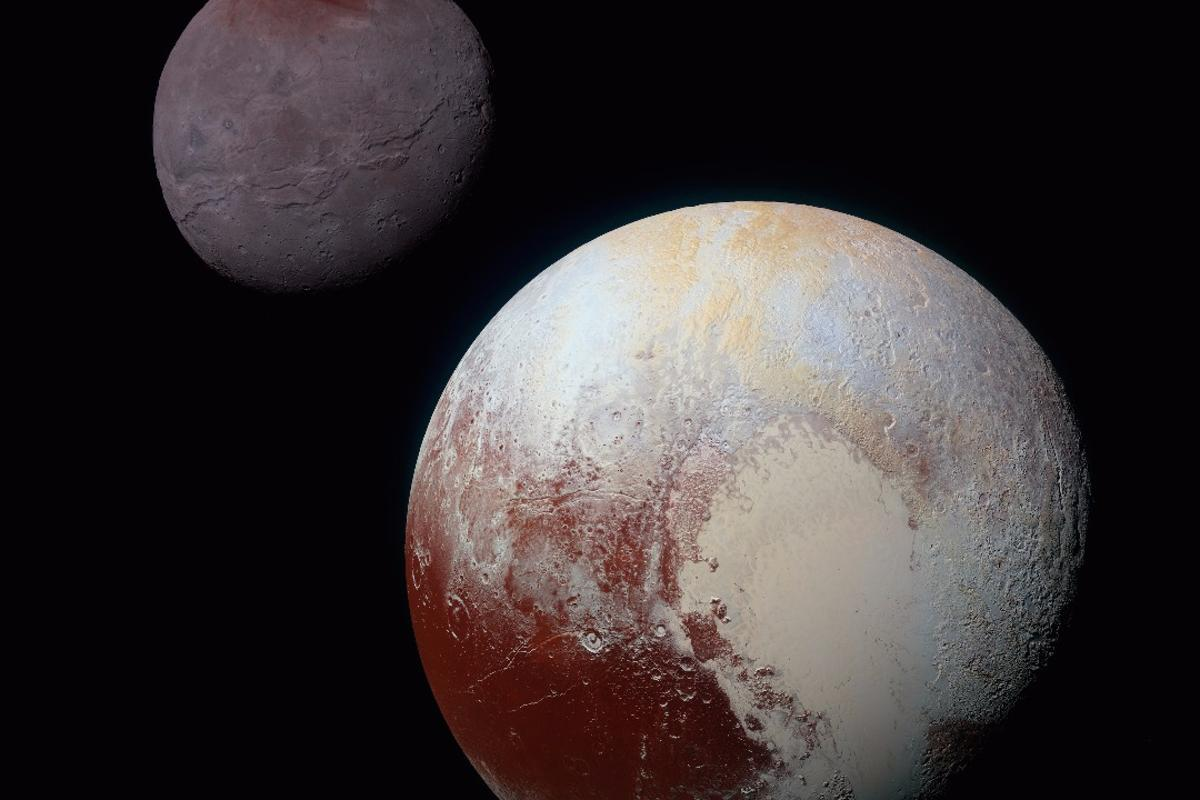 Charon (top) and Pluto are only separated by about 12,000 mi (19,300 km)