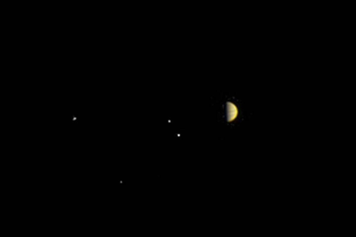 Juno sent this image of Jupiter and its largest four moons as it approaches orbit