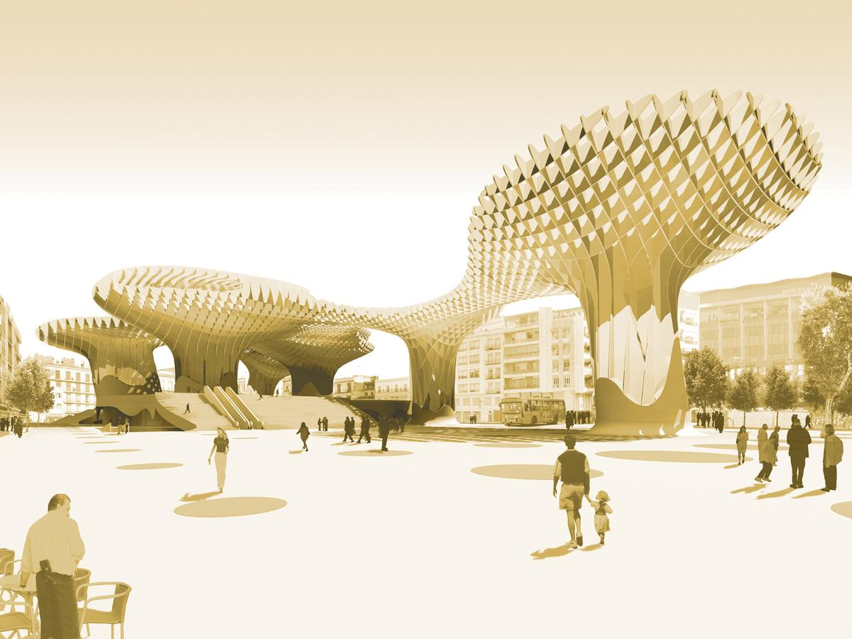 "The giant mushroom-like structure that is the ""Parasols"" in Seville, Spain, are glued, not bolted, together using a special gluing technique was devised to withstand the extreme summer heat"