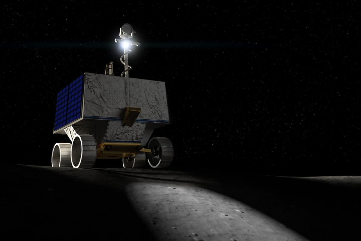 Render of the VIPER rover at work on the Moon