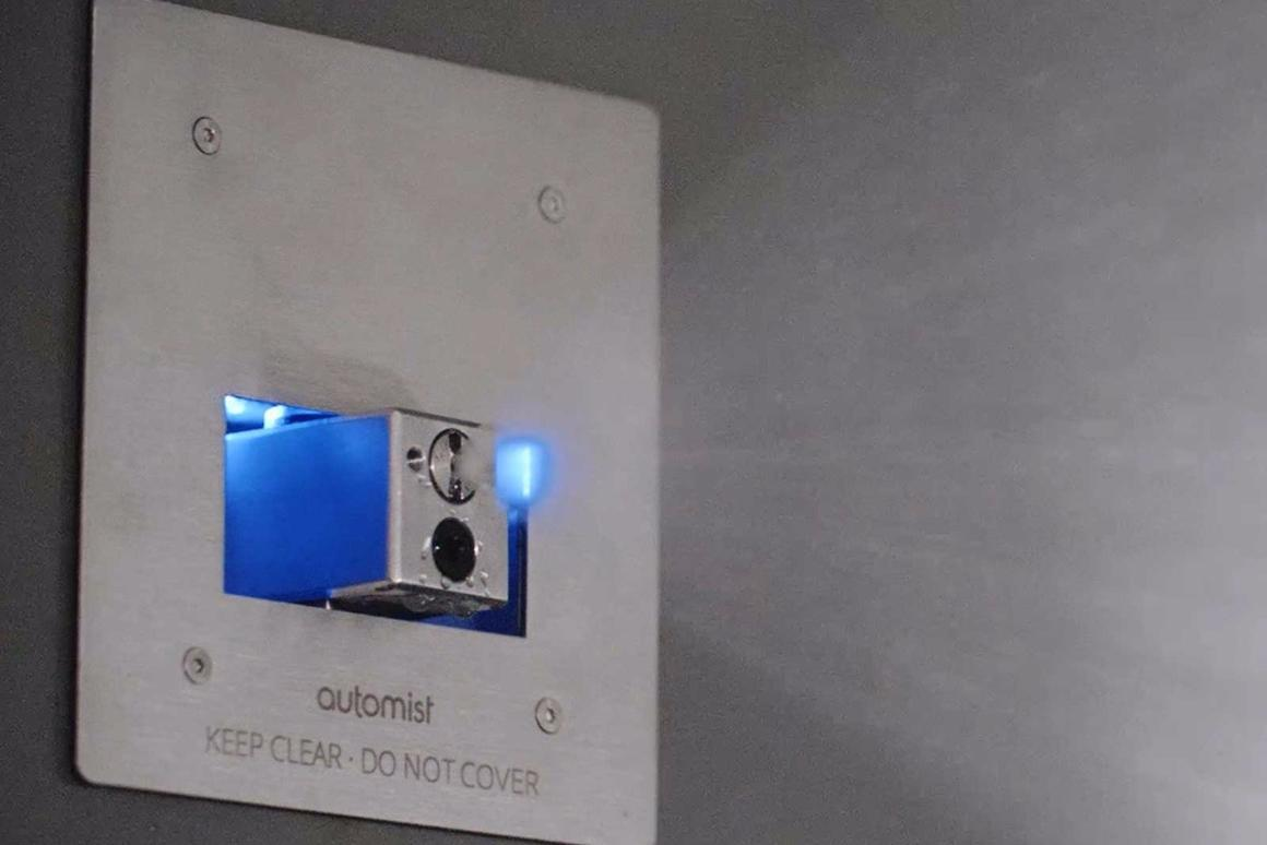 The Automist wall unit delivers a fire-extinguishing water mist at a rate of 5.6 liters (1.5 US gal) per minute