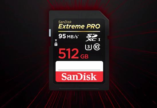 The 512 GB version of the SanDisk Extreme PRO SDXC UHS-I is the world's largest capacity SD memory card
