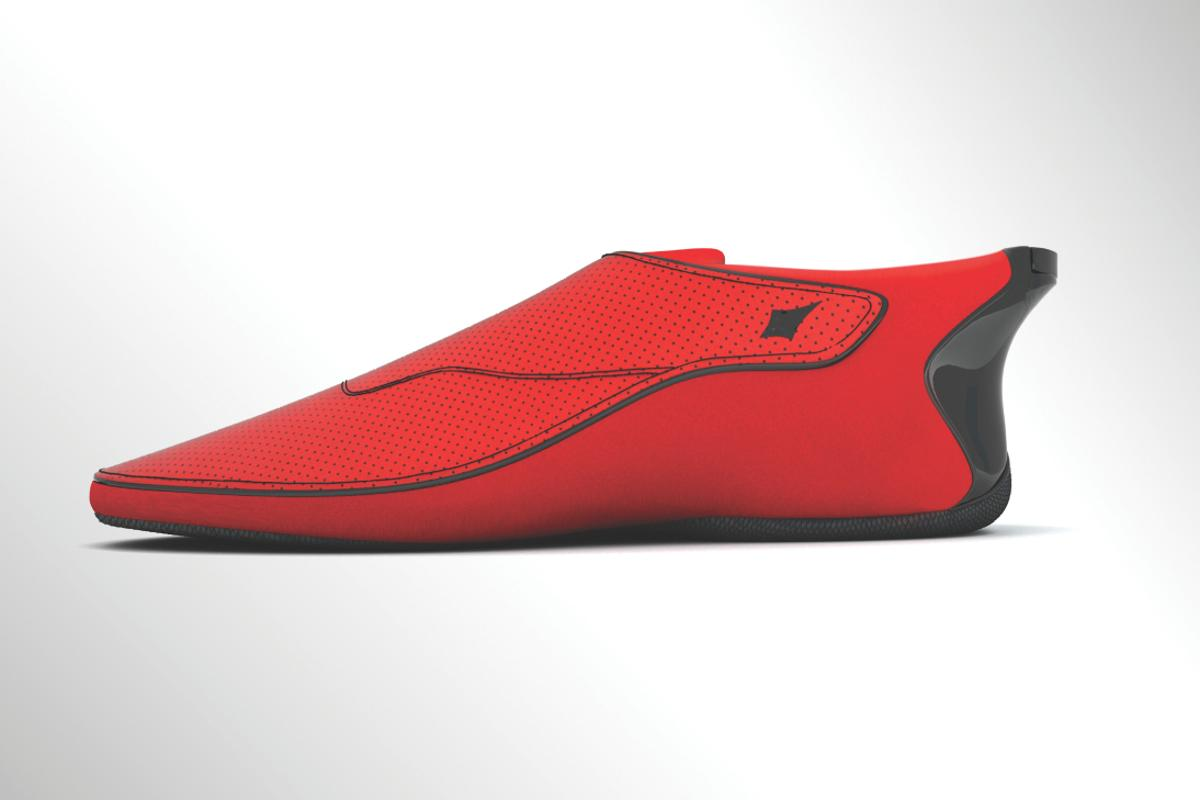 The Lechal haptic shoe, in fiery red