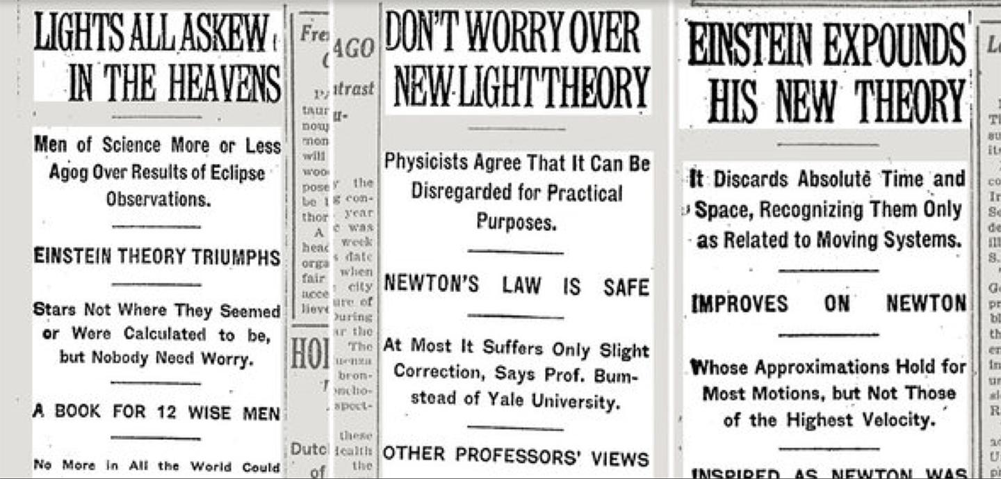 Newspapers across the world picked up the story of Lord Rutherford measuring the distortion of light through an eclipse and Einstein, his most unlikely theory vindicated, became a global celebrity overnight – the above clippings are from the New York Times dated November 10, November 16 and December 3, 1919.