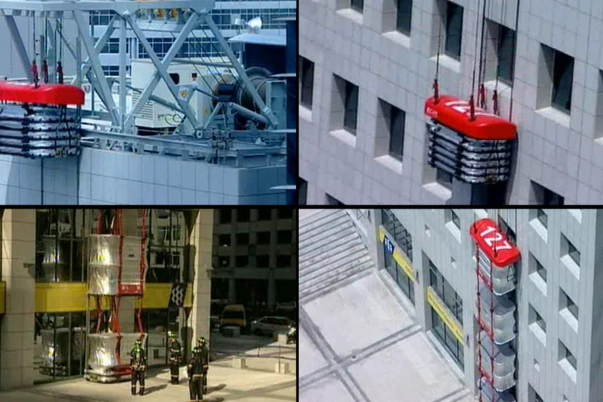 The Escape Rescue System can transport rescue personnel up the building and evacuate building tenants down