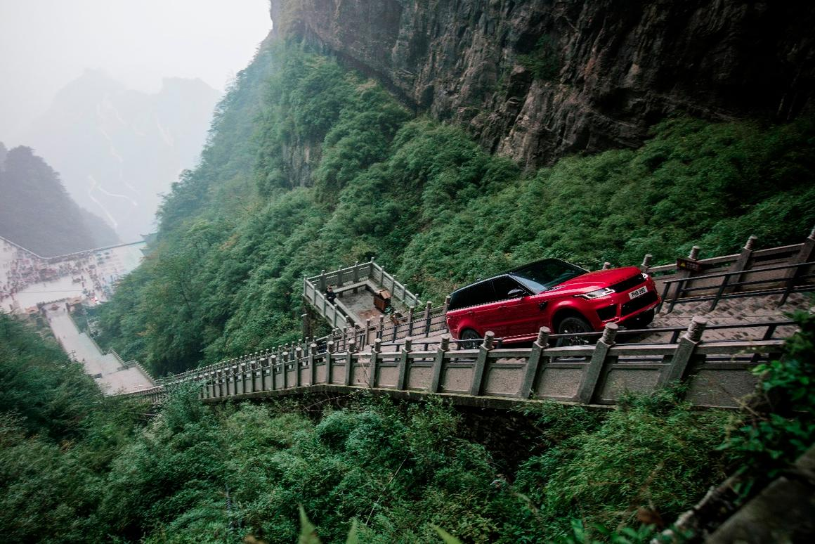In a stunt unlikely to be repeated, Ho-Pin Tung drives a range rover up the staircase to Heaven's Gate