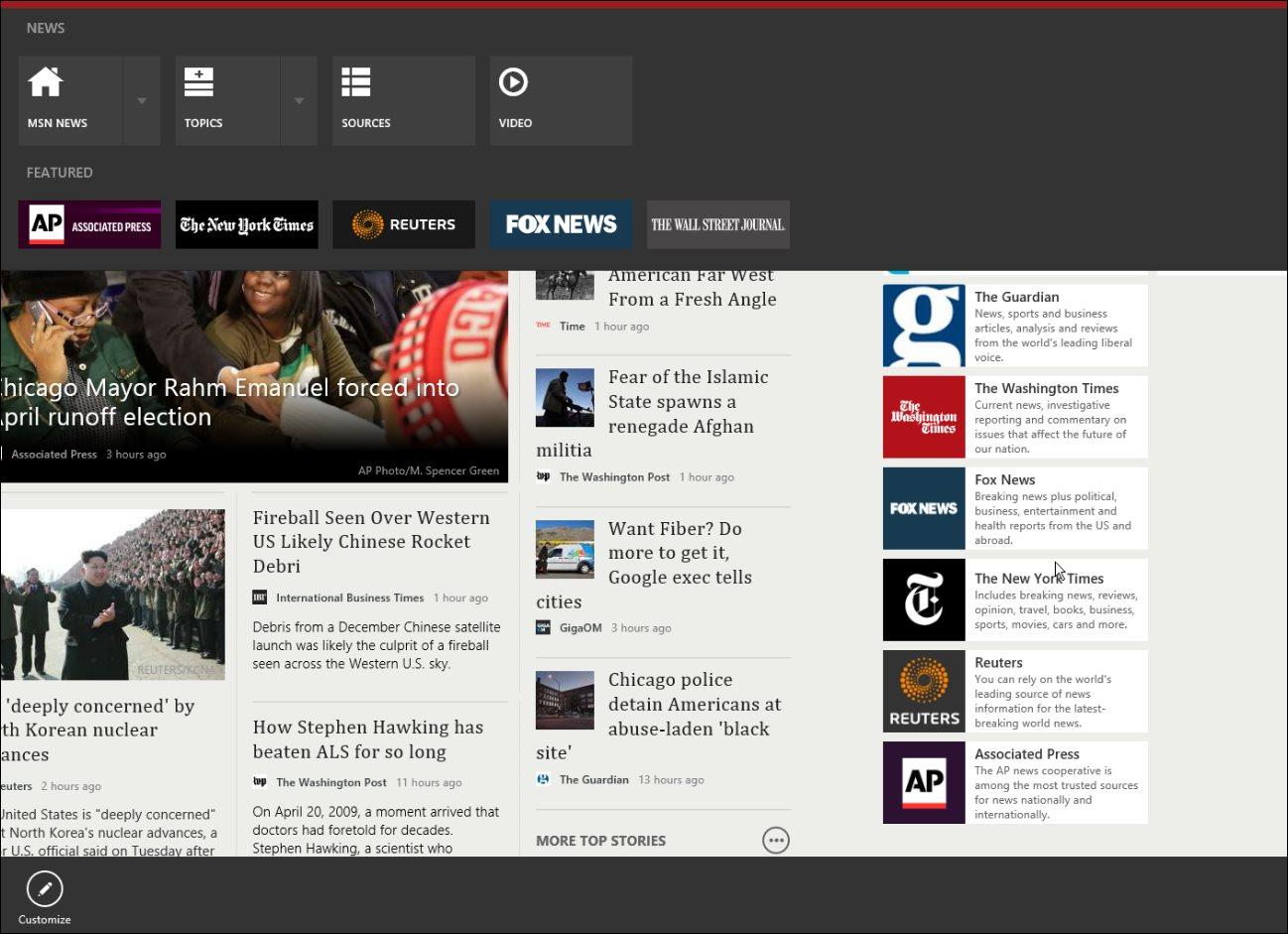 Full screen Windows 8 New app