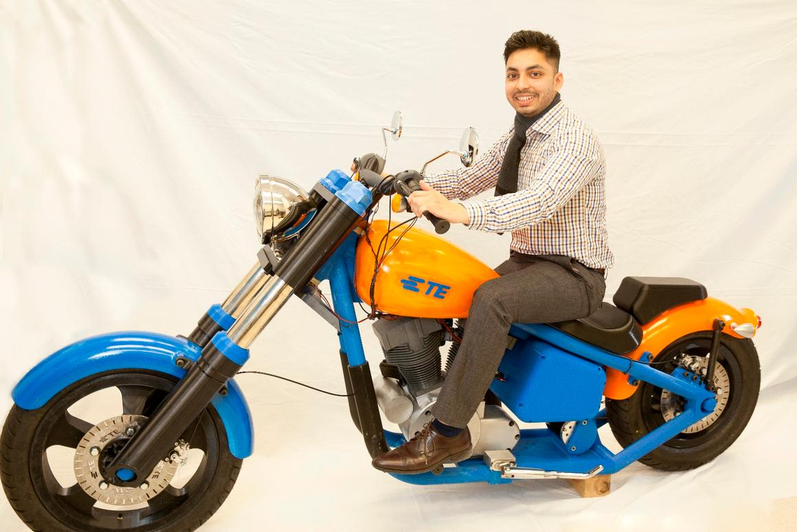 The 3D-printed motorcycle, on display