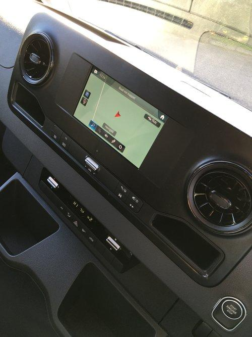 The new Mercedes Sprinter comes with a 7-in touchscreen MBUX infotainment system or available 10.3-in system