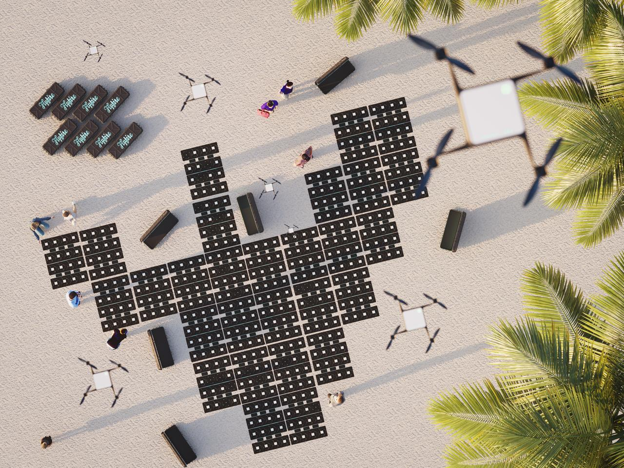 An overhead view of the Flying Drone Blanket