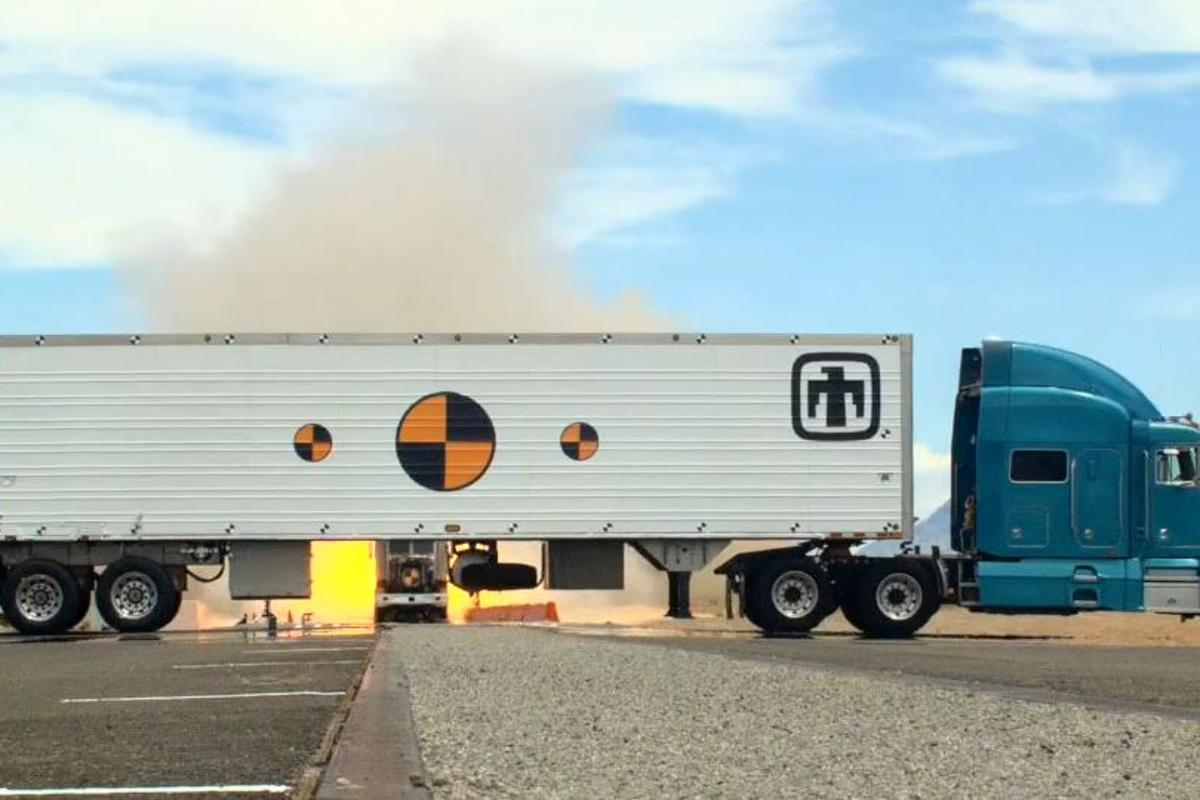 The Mobile Guardian Transporter about to be hit by a rocket-propelled truck