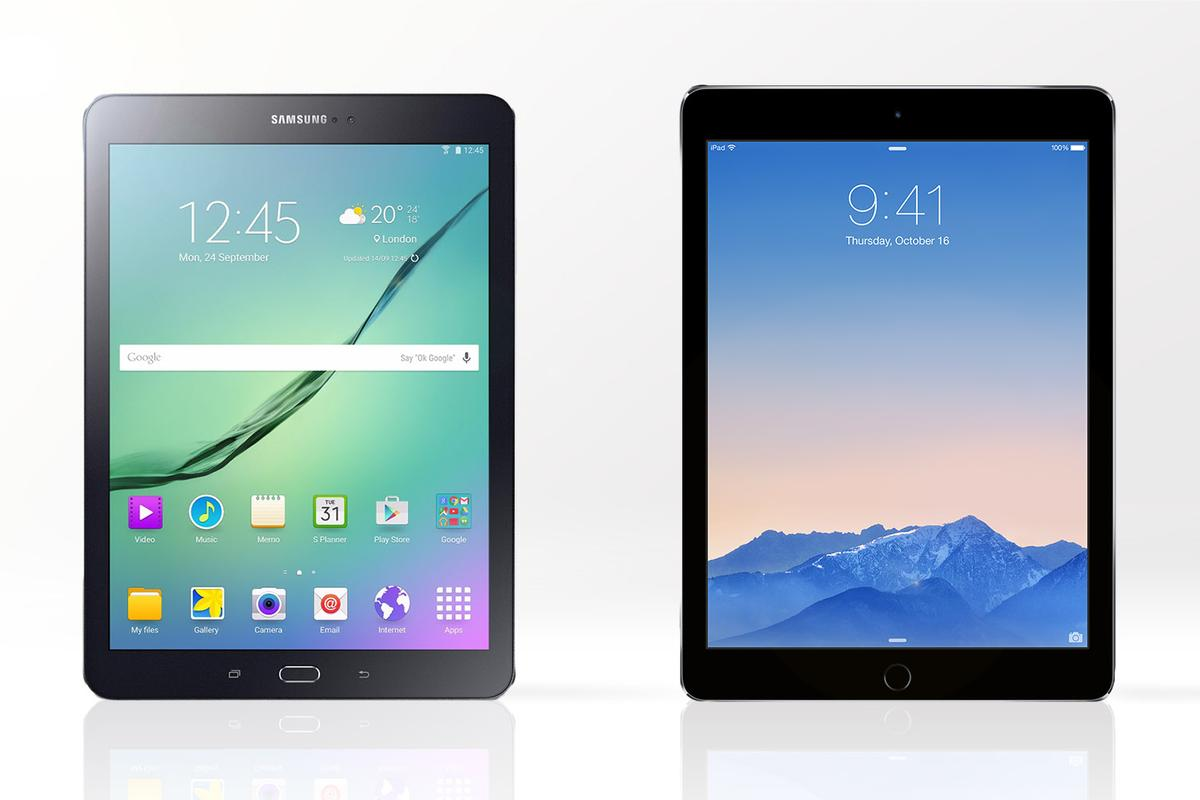 Gizmag compares the features and specs of the 9.7-inch Galaxy Tab S2 (left) with the iPad Air 2