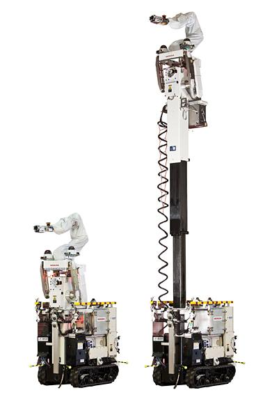 The High-Access Survey robot, co-developed by Honda and AIST, can extend its arm up to 7 meters (23 ft)