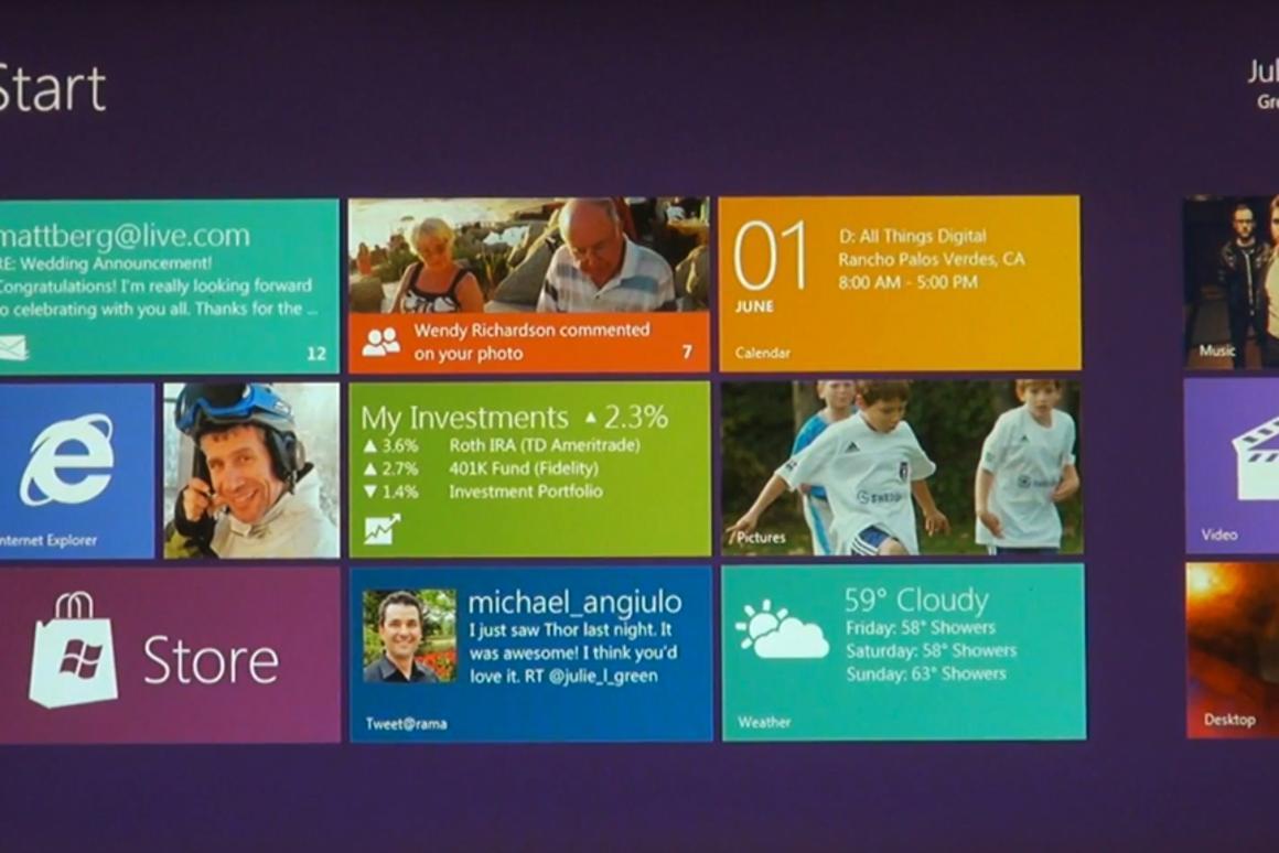 The Windows 8 tile-based Start screen