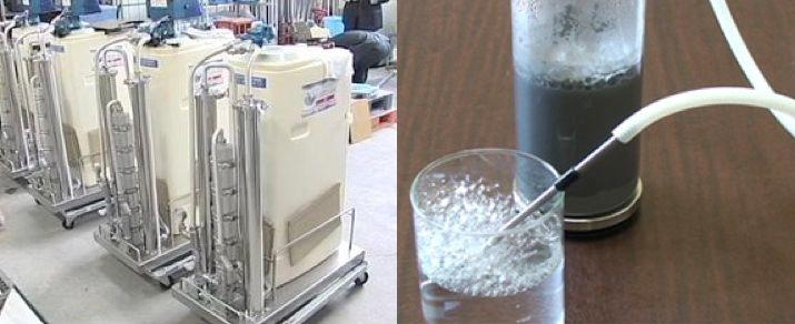 FUKAI's functional water generators (left) and a hydrogen-extraction demonstration (right)