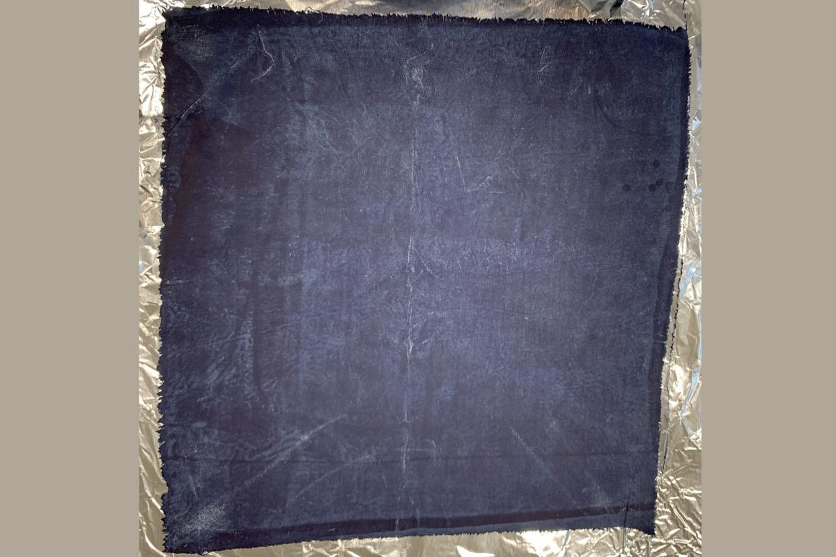 A sample of denim that was dyed using the new technique