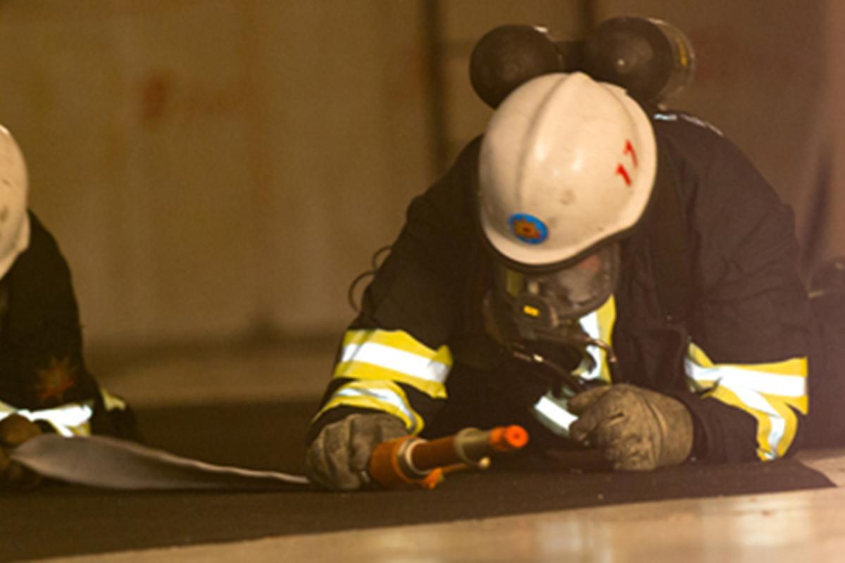 Firefighters testing the shoe-based digital positioning system 25 m below ground (Photo: Erik Groundstroem)