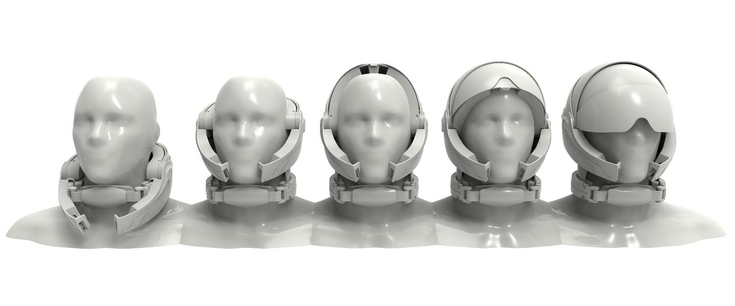 The models show the Alpha helmet in various stages of articulation